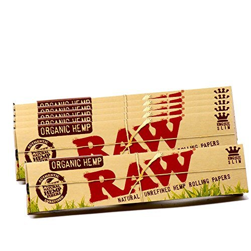 RAW Organic Hemp Natural Unrefined Rolling Paper - King Size Slim 110mm Size (6 - Glasses Without Juicy J