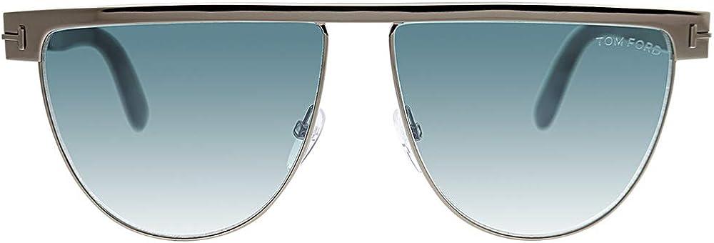 Tom Ford Stephanie TF 570 14X Gunmetal Metal Sunglasses Blue Gradient Lens