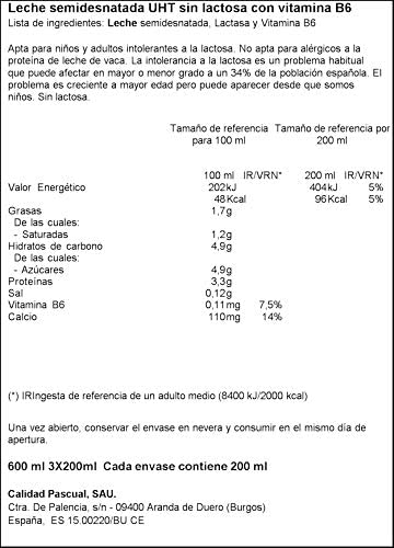 Pascual Leche sin Lactosa Semidesnatada, Pack de 3 x 200ml ...