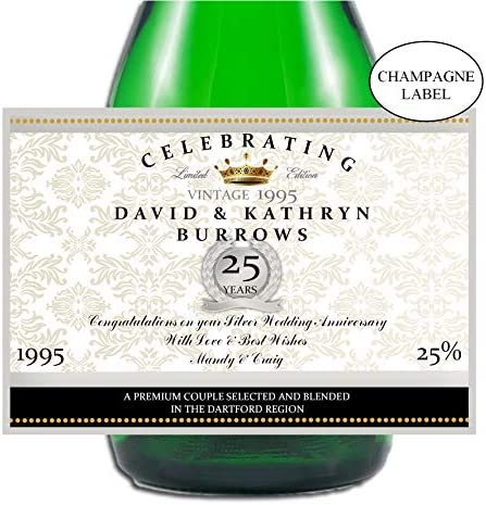 Personalised Champagne bottle label SILVER Wedding anniversary//wedding 25 YEARS