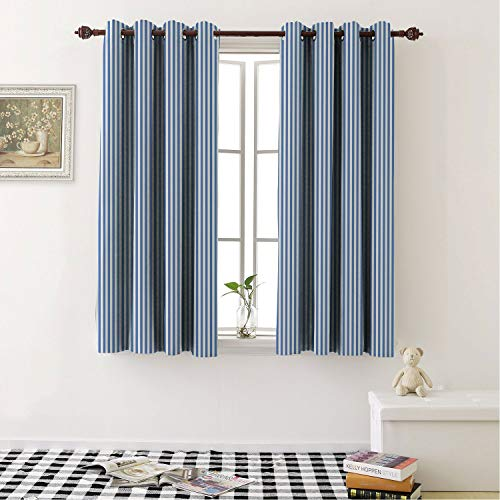 Mozenou Drapes for Bedroom Blackout Curtains Pinstripe Nautical Concept Sailor Style Blue and White Simple Minimalist Stripes Azure Blue White Noise Reducing- 96 by 72 in