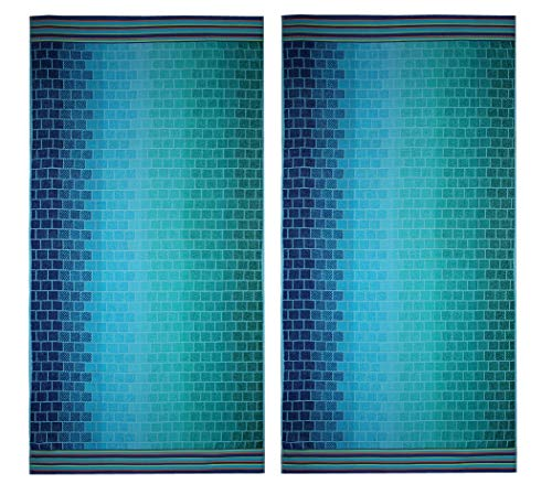 COTTON CRAFT - 2 Pack - Oversized Jacquard Double Woven Velour Beach Towel 39x68 - Blue Tile - Highly Absorbent - 450 Grams per Square Meter 100% Pure Ringspun Cotton
