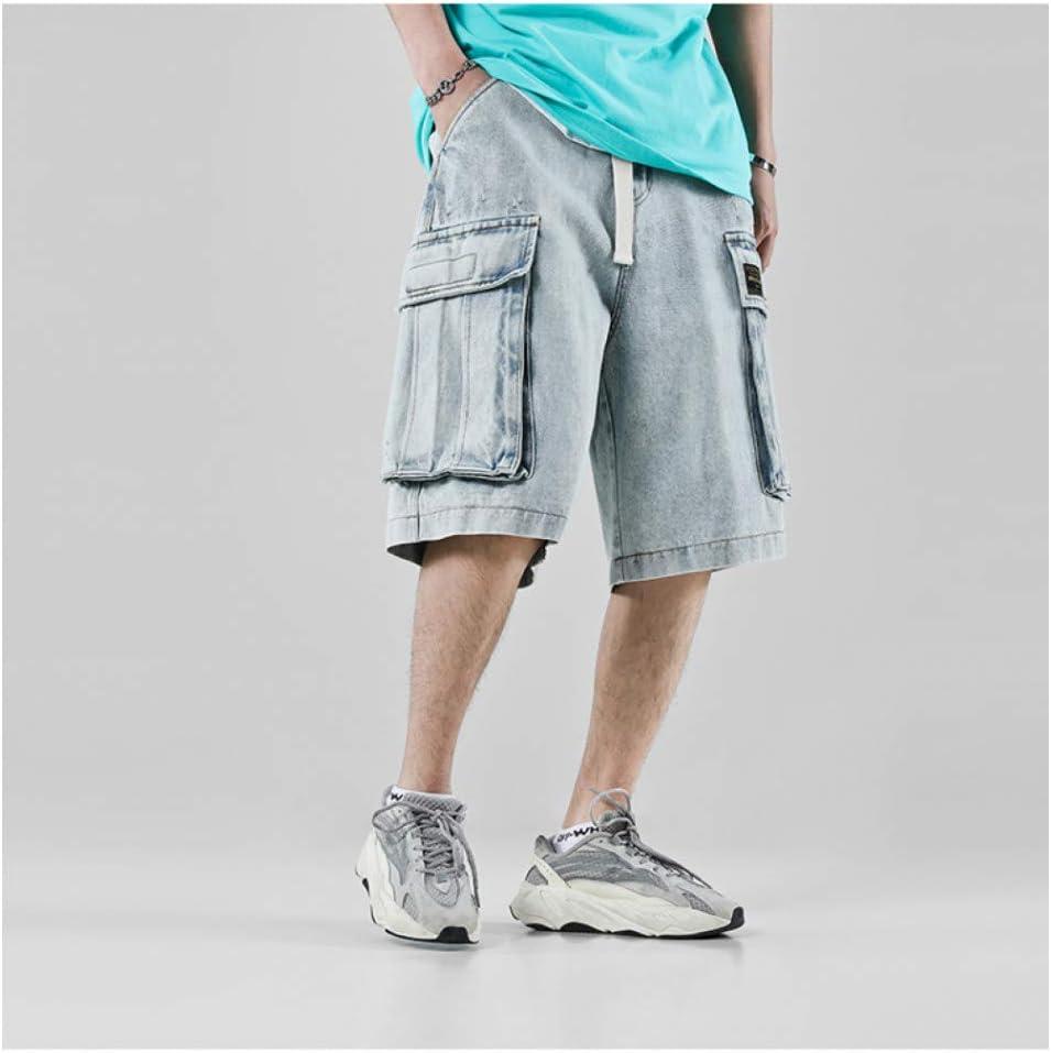 Cargo Harem Shorts Summer Man Shorts Summer Hip Hop Denim Shorts Men Kpop Streetwear Fashions Belt Harajuku Baggy Jeans Whitening Denim Pants Men Blue
