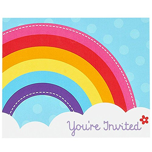 BirthdayExpress Rainbow Wishes Party Supplies - Invitations (8) ()