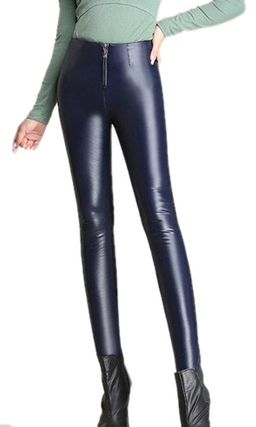 Toyobuy Thick Pu Leather Skinny Zip Winter Legging Pants Tights Trouser