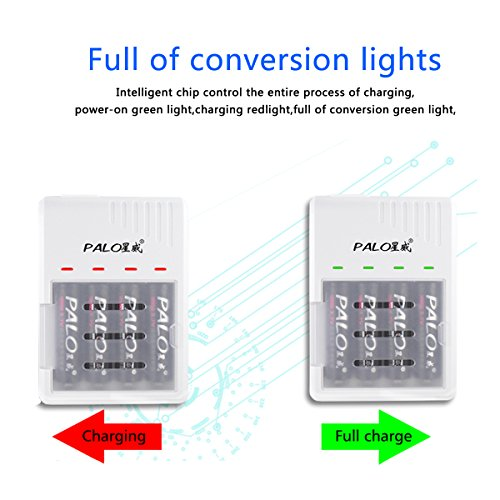 PALO 4 Bay LED Smart Battery Charger Fast for 18650 18490 18350 17670 17500 16340 RCR123 14500 IMR 10440 3.7V Lithium Li-ion LiFePO4 Rechargeable Batteries White Under 10