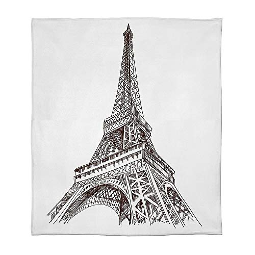 (YOLIYANA Fine Flannel Blanket,Paris,for Home Travel Camping,Size Throw/Twin/Queen/King,Hand Drawn Style Illustration of Eiffel Tower)