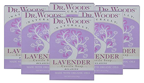Dr. Woods Exfoliating Lavender Bar Soap with Organic Shea Butter, 5.25 oz (Pack of 6)