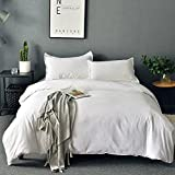 SORMAG Duvet Cover Queen White Microfiber With Zipper Close Duvet Cover Set 3 Piece