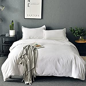 SORMAG Duvet Cover King White Microfiber with Zipper Close Duvet Cover Set 3 Piece(90