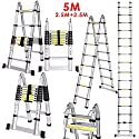 Luisladders Telescoping Ladder Multi-Use Telescopic Extension Ladder with Locking Feature Anti-Pinch and Anti-Slip Function (16,5 FT)