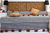 Moroccan Pom Pom Blanket Throw Bedspread, Hand Woven with 100% quality COTTON, All Year Round Bedding, Pearl White and Black Stripes. (BC4N)