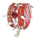 SEA-Smadar Eliasaf Red Leather Wrap Bracelet Necklace with Deep Red Swarovski Crystal 925 Silver Plated