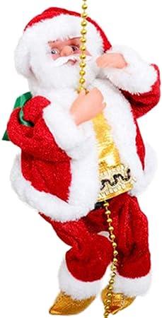 Greyghost Decoración colgante de Navidad Papá Noel Escalera eléctrica Escalada Decoración de muñecas Árbol de Navidad Decoración de figurillas (con música): Amazon.es: Hogar