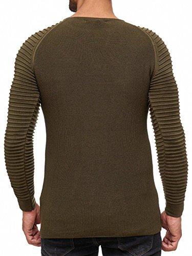 Red À shirt Sweat Bridge Mode Nervuré Hommes Manches Pull Kaki Basic Longues wprpqx