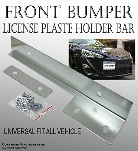 ICBEAMER Aluminum Bumper Front License Plate Mount Relocate Universal Bracket Fit Most Vehicle [Color: Silver] -1 pc