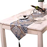 Classic Modern Table Runner Floral with Tassel for Party and Wedding 13 X 83 Inch (Blue Polyester) For Sale
