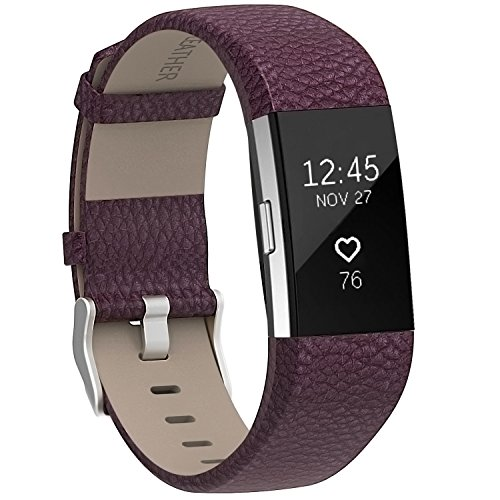 Henoda Replacement Bands Compatible with Fitbit Charge 2, Classic Genuine Leather Charge 2 Band Fitness Wristband for Women Men Small Large Maroon