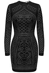Meaneor Women S Scoop Neck Long Sleeve Geometric Sequin Party Dress For Juniors Black L