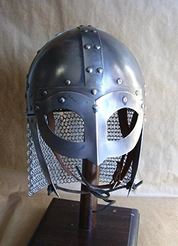 (REPLICA MUSEUM Historical Medieval Viking Helmet Battle Armor+18G Steel And Chain Mail W/Liner)