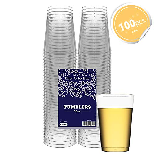 (Clear Disposable Plastic Cups 10 Oz. Pack Of (100) Fancy Hard Plastic Cups - Party Accessories - Wedding - Cocktails- Tumblers)