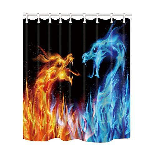 (NYMB Creative Fire and Ice Dragon Shower Curtain 69X70 inches Polyester Fabric Bath Fantastic Decorations Bath Curtain Hooks Included )