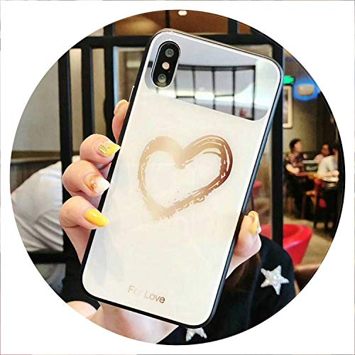 Mirror Tempered Glass Phone Case for iPhone X XS Max Cartoon Full Protective Glass Cases for iPhone 7 8 Plus 6 6s XR Cover Coque,White Love Heart,for iPhone XR