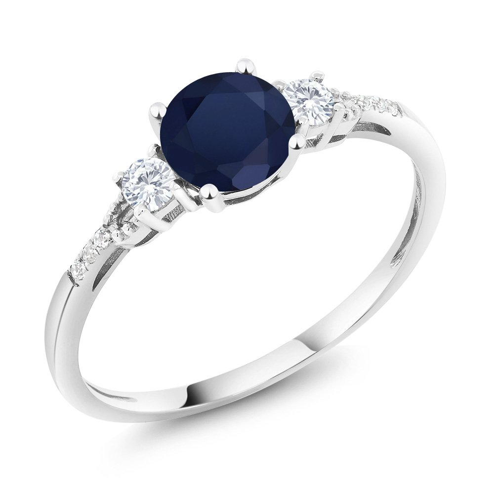 Gem Stone King 10K White Gold Blue Sapphire White Created Sapphire and Diamond Accent 3-stone Engagement Ring 1.15 cttw (Size 8)