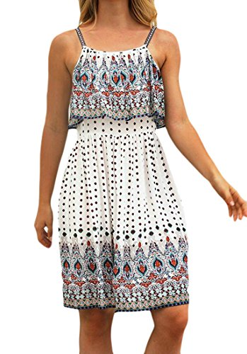 Strap Dress Printed Spaghetti Domple Women White Party Flared Boho Ruffle Mini Beach Zq0txv0