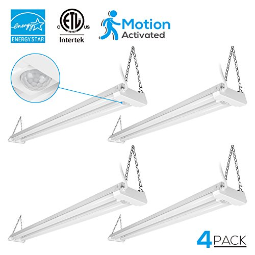 4 PACK 4ft Linkable LED Motion Activated Utility Shop Light, 40W (120W T8 Tubes Equiv.) LED Ceiling Fixture, 4100lm, ENERGY STAR & ETL Listed, 4000K Cool White, for Garage/Basement/Workshop (Garage Light Fixture With Outlet)