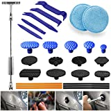 GLISTON Dent Puller Removal, Paintless Dent Repair Kit, PDR Slide Hammer kit with 13pcs Thickened Tabs& 5pcs Pry Tool& 2 pcs Wax Applicator Pads for DIY Vehicle Body Motorcycle Refrigerator Washer
