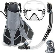 ZEEPORTE Mask Fin Snorkel Set with Adult Snorkeling Gear, Panoramic View Diving Mask, Trek Fin, Dry Top Snorke