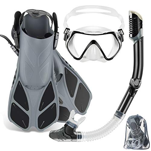 (ZEEPORTE Mask Fin Snorkel Set with Adult Snorkeling Gear, Panoramic View Diving Mask, Trek Fin, Dry Top Snorkel +Travel Bags, Snorkel for Lap Swimming)