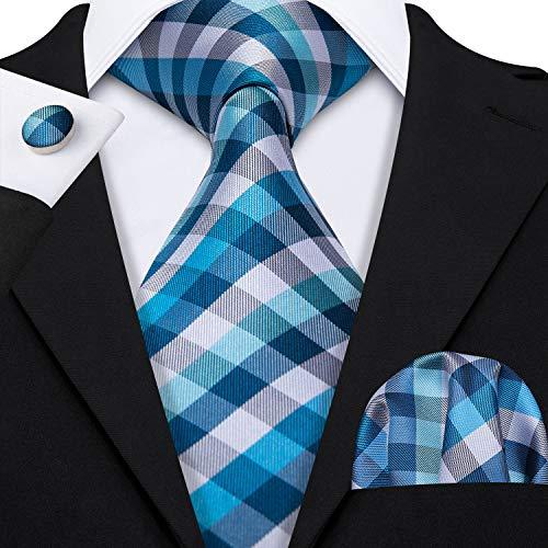 (Barry.Wang Plaid Tie Set Woven Silk Neckties for Men)