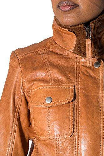 Las nuevas mujeres Tan Bombardero chaqueta de cuero suave. Cuello de punto acanalado. Cierre de botones popper.