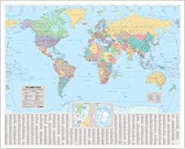 The times world wall laminated map wall map amazon flip to back flip to front publicscrutiny Image collections