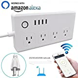 WiFi Smart Power Strip Surge Protector,Mengyasi Smart Power Socket with 4 AC Outlets and 4 USB Ports Compatible with Alexa Remote Control your Device from Android/ IOS Smartphone/ Tablets