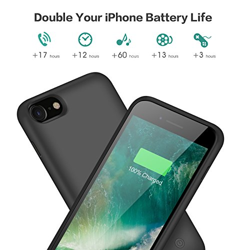 iPhone 8/7 Battery Case, 6000mAh Rechargeable Charger Case Portable External Battery Pack for iPhone 7/8 Protective Charging Case Apple Battery Power Bank (4.7 Inch) (Black) by Trswyop (Image #2)