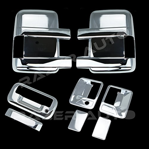 Razer Auto Triple Chrome Plated Mirror, 2 Door Handle without Passenger Keyhole, Tailgate Handle without Camera Hole Cover for 08-15 Ford F250+F350+F450 Super Duty