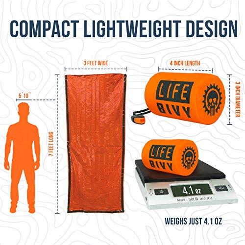 Go Time Gear Life Bivy Emergency Sleeping Bag Thermal Bivvy – Use as Emergency Bivy Sack, Survival Sleeping Bag, Mylar…