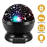 Star Night Light, Moon Stars Projector, Rotating 9 Color Options Romantic Night Lighting Lamp, USB Cable/Batteries Powered for Nursery, Bedroom Baby Night Lights for Kids