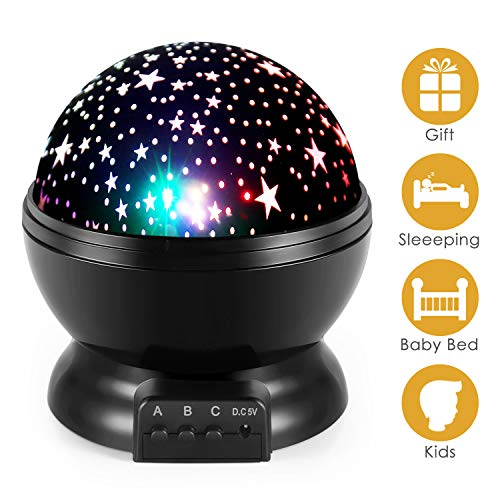 Star Night Light, Moon Stars Projector, Rotating 9 Color Options Romantic Night Lighting Lamp, USB Cable/Batteries Powered for Nursery, Bedroom Baby Night Lights for Kids by Royalsell
