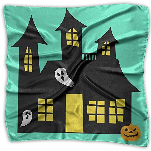 Halloween Hauntedhouse Women's Large Square Satin Head Bandanas Silk Like Neck Scarves ()