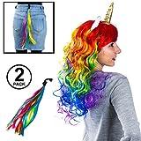 Tigerdoe Unicorn Costume Women - 2 Pc Set - Rainbow Unicorn Wig and Tail – Unicorn Halloween Costume - Costume Wigs for Adults