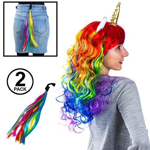 Tigerdoe Unicorn Costume Women - 2 Pc Set - Rainbow Unicorn Wig Tail – Costume Wigs Adults - Unicorn Costume - Unicorn Party Supplies -