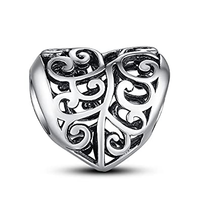 Glamulet Jewelry - Silver Openwork Heart Charm -- 925 Sterling Silver by Glamulet