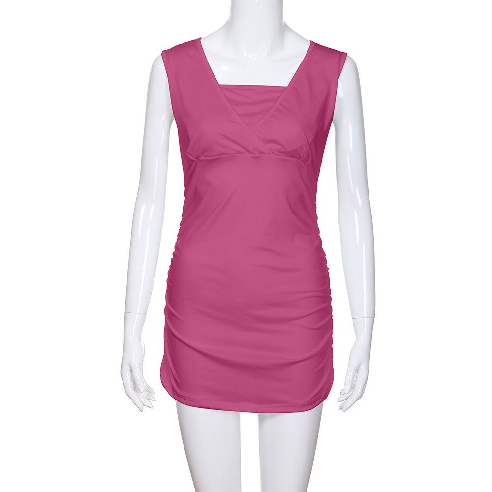 Women's Ruched Hem Blouse, Gogoodgo Ladies V-Neck Cross Strap Maternity Tops Stretched Round Neck Tank Tops Hot Pink by Gogoodgo vest (Image #5)