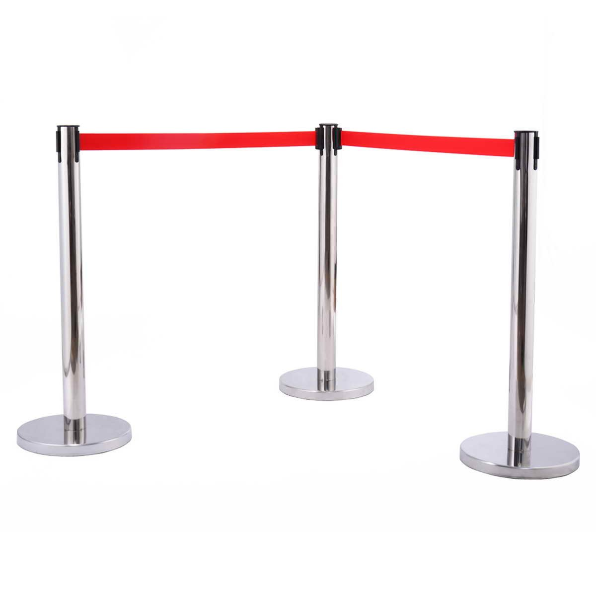 CASART 6 Retractable Belt Barrier Queue Posts Pole Crowd Control Stainless Steel New