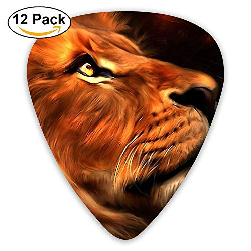 12-pack Fashion Classic Electric Guitar Picks Plectrums Lion Face Painting Instrument Standard Bass Guitarist