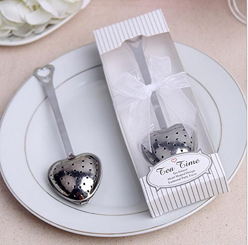 96pcs Stainless Steel Love Heart Tea Infuser Tea Strainer Filters For Wedding Favor